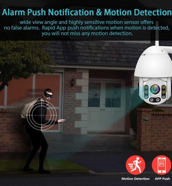 Wi-Fi камера за наблюдение 1080P, детектор за движение, водоустойчива