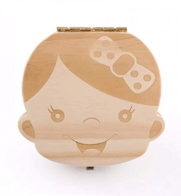 Дървена кутийка за млечни зъбки