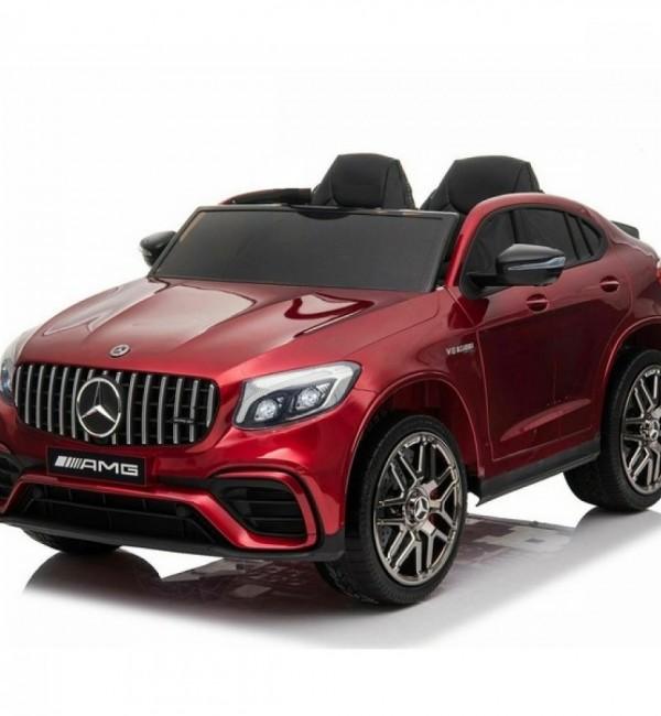 Двуместен акумулаторен джип Mercedes GLC63 4X4,2X12V с MP4 видео/дисплей, меки гуми и кожена седалка