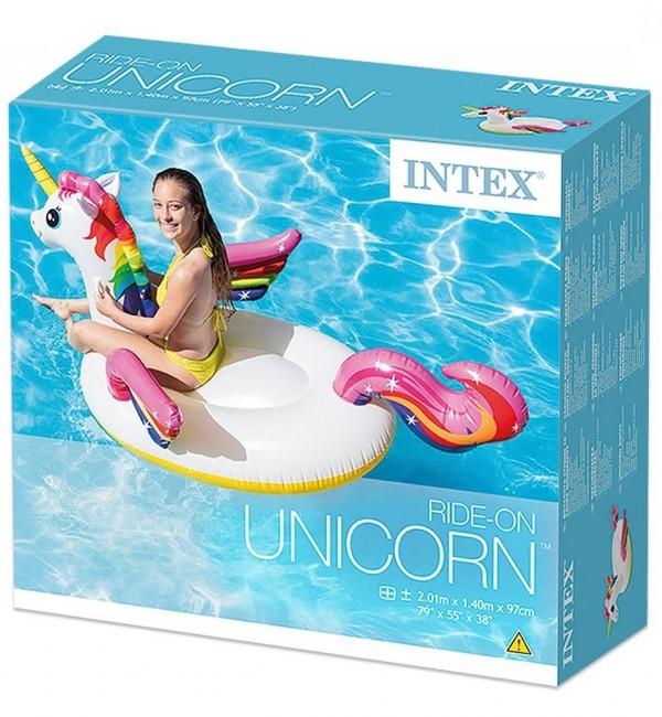 Надуваем остров Еднорог INTEX Unicorn Ride-on